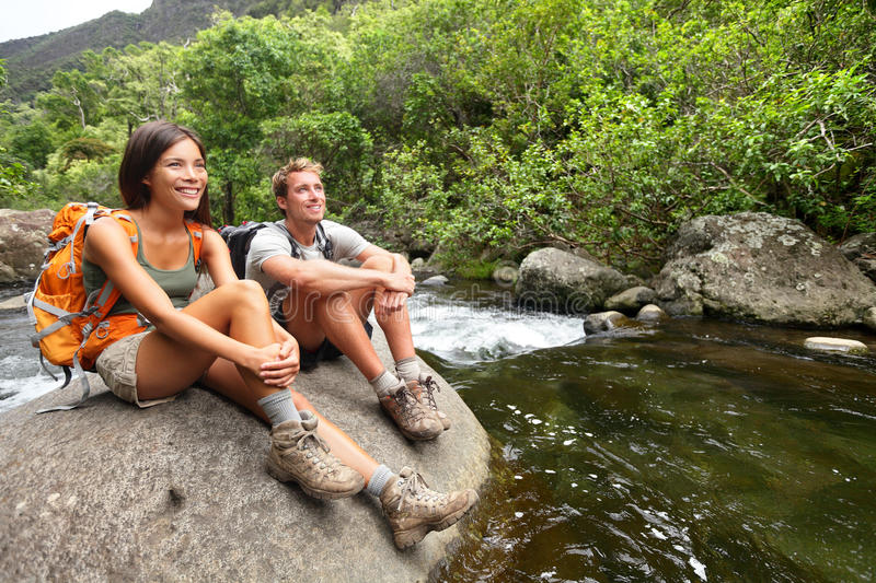 Hiking Couple Hikers In Outdoor Activity On Hawaii Stock