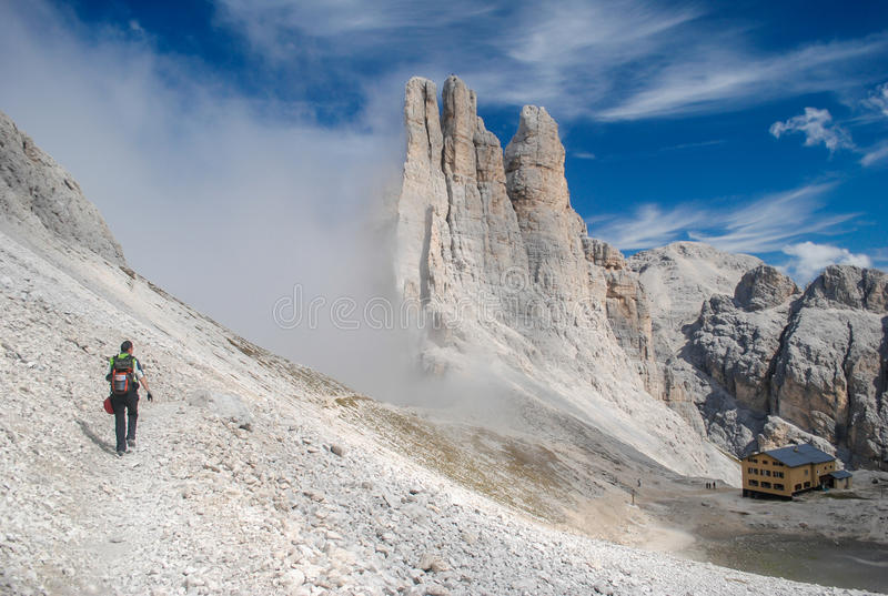 Hiking in the Dolomites royalty free stock photography