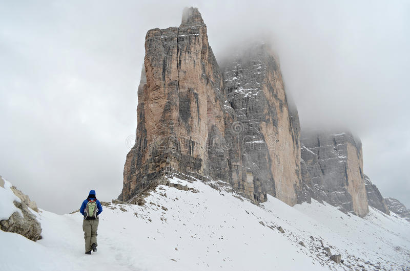 Hiking in the Dolomites in winter royalty free stock photo