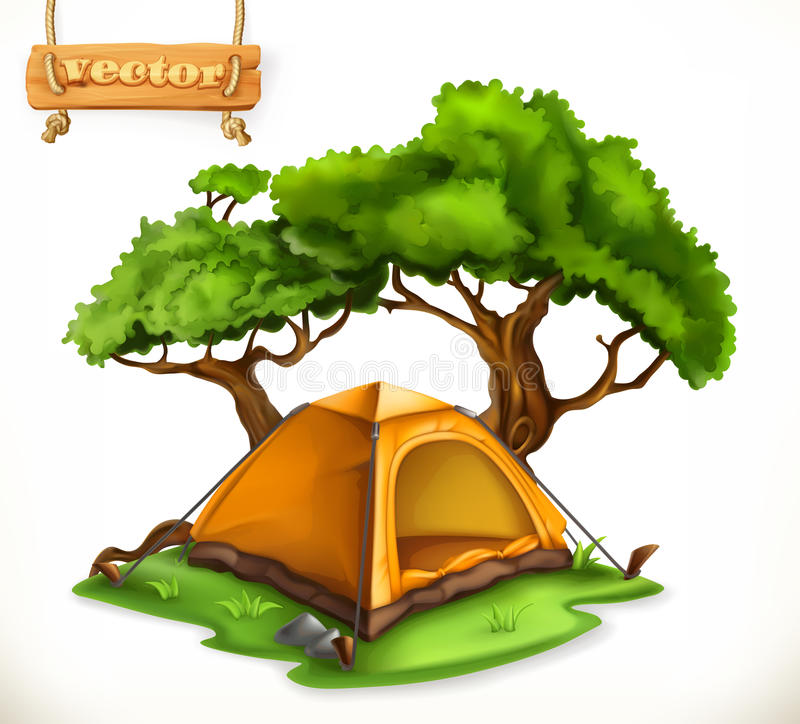 Hiking dome tent. Camping, vector icon stock illustration