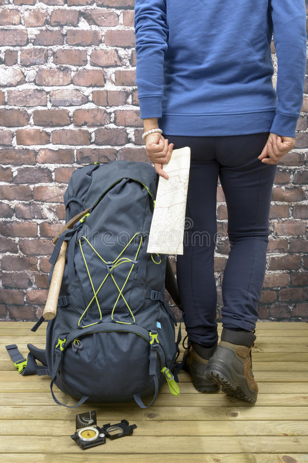 Hiking equipment, rucksack, boots and backpack. Concept for family hiking. Colorful background royalty free stock images