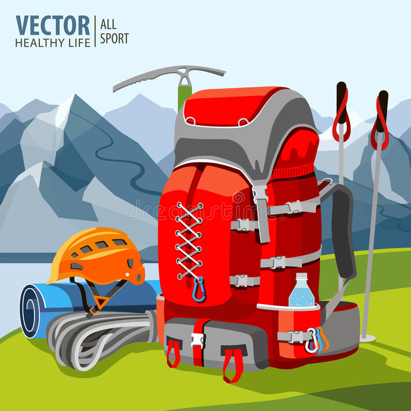 Free Hiking Equipment, Rucksack, Poles, Rope, Helmet, Ice Pick. Mountaineering. Mountains. Vector Illustration. Stock Images - 93850424