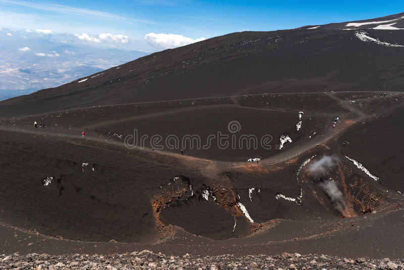 Hiking on Etna royalty free stock image