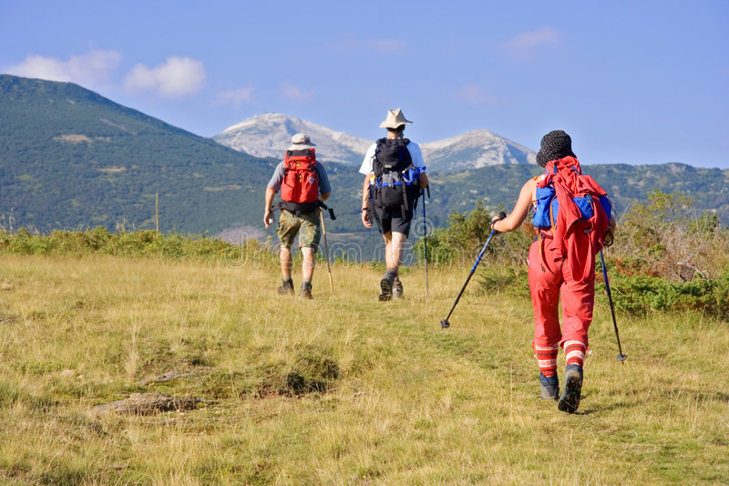 Hiking expedition stock image