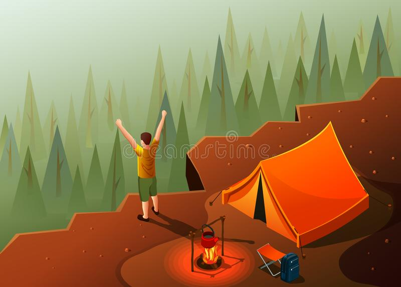 Hiking Freedom Isometric Composition vector illustration