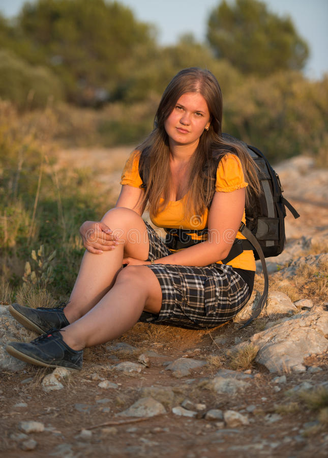 Hiking Girl Resting Stock Images