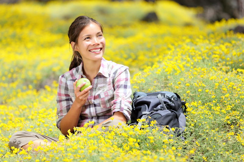 Hiking girl in spring royalty free stock photography