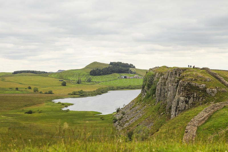 Download Hiking on the Hadrian wall stock image. Image of crag - 30539381