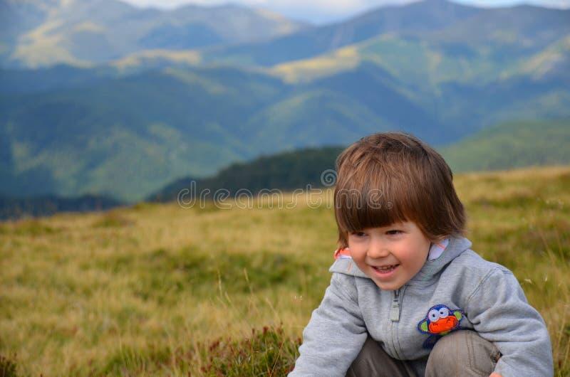 Hiking happy white boy royalty free stock photography