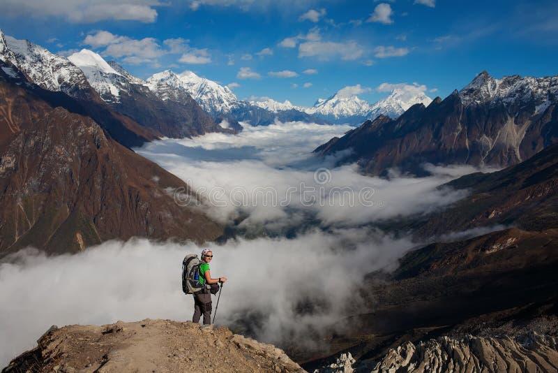 Hiking in Himalaya mountains. Hikre walk in Himalaya mountains royalty free stock photography