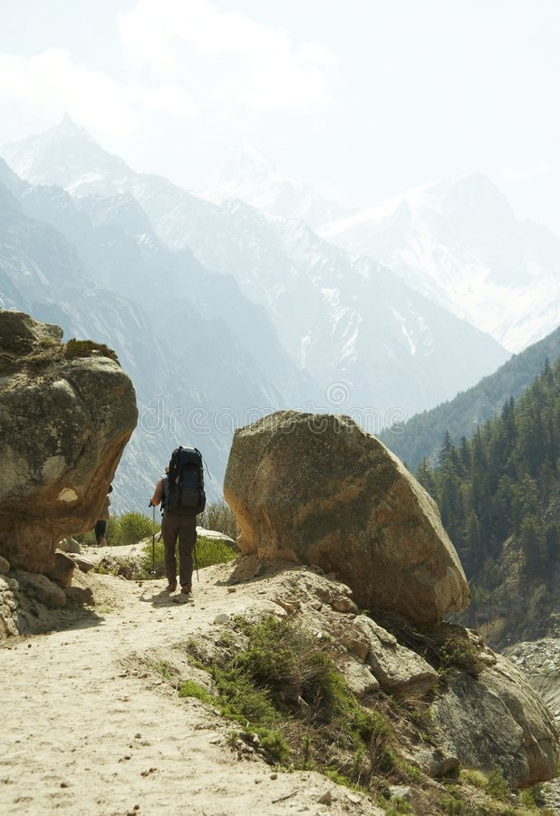 Hiking in Himalayans royalty free stock photos