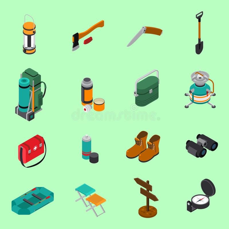 Hiking Icons Set vector illustration