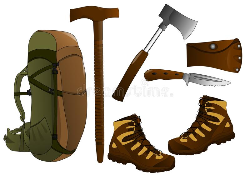Hiking items, cdr vector royalty free stock photography