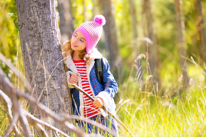 Download Hiking Kid Girl With Backpack In Autum Poplar Forest Stock Photo - Image: 36146928