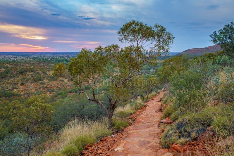 Hiking kings canyon at sunset, watarrka national park, northern territory, australia 22. Hiking kings canyon at romantic sunset, watarrka national park, northern royalty free stock images