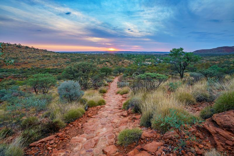 Hiking kings canyon at sunset, watarrka national park, northern territory, australia 31. Hiking kings canyon at romantic sunset, watarrka national park, northern royalty free stock photo