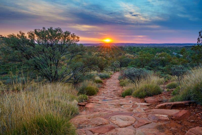 Hiking kings canyon at sunset, watarrka national park, northern territory, australia 36. Hiking kings canyon at romantic sunset, watarrka national park, northern royalty free stock photo