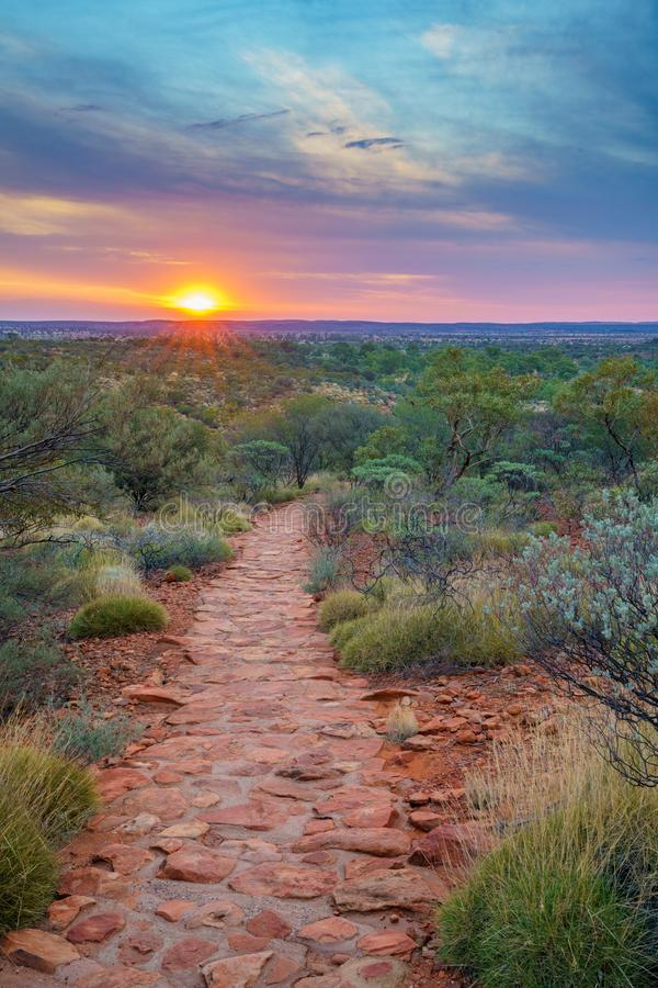 Hiking kings canyon at sunset, watarrka national park, northern territory, australia 40. Hiking kings canyon at romantic sunset, watarrka national park, northern royalty free stock image