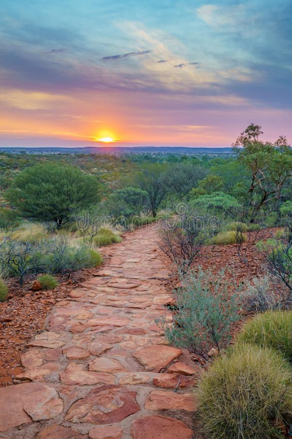 Hiking kings canyon at sunset, watarrka national park, northern territory, australia 46. Hiking kings canyon at romantic sunset, watarrka national park, northern royalty free stock image