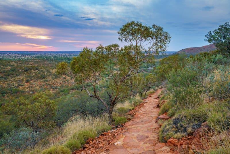 Hiking kings canyon at sunset, watarrka national park, northern territory, australia 21. Hiking kings canyon at romantic sunset, watarrka national park, northern royalty free stock photography
