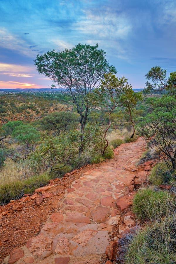 Hiking kings canyon at sunset, watarrka national park, northern territory, australia 24. Hiking kings canyon at romantic sunset, watarrka national park, northern stock image