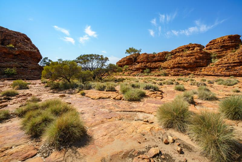 Hiking in kings canyon in the sun, watarrka national park, northern territory, australia 9. Hiking in kings canyon on a sunny day, watarrka national park royalty free stock images