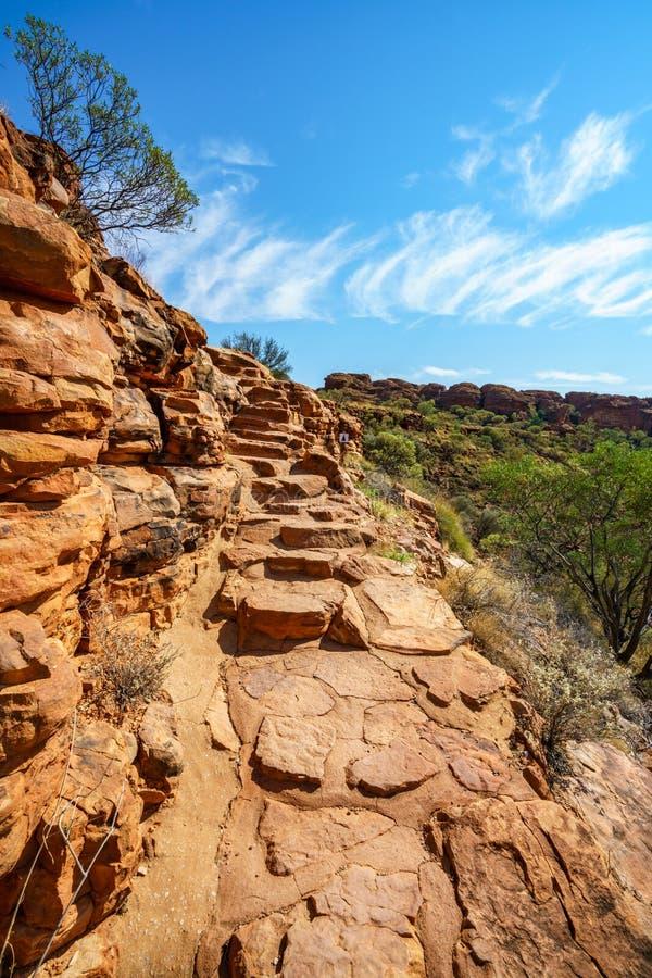 Hiking in kings canyon in the sun, watarrka national park, northern territory, australia 1. Hiking in kings canyon on a sunny day, watarrka national park stock image