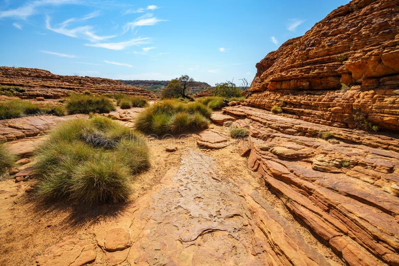 Hiking in kings canyon in the sun, watarrka national park, northern territory, australia 33. Hiking in kings canyon on a sunny day, watarrka national park royalty free stock images