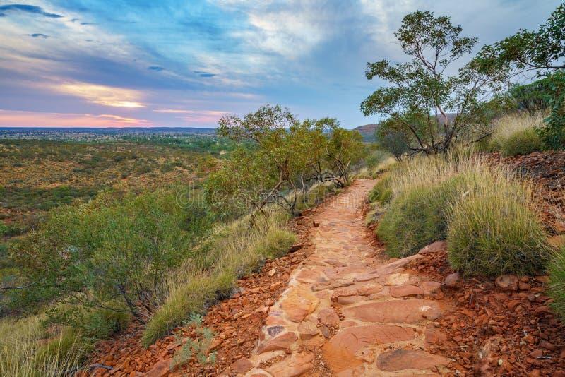 Hiking kings canyon at sunset, watarrka national park, northern territory, australia 20. Hiking kings canyon at romantic sunset, watarrka national park, northern stock images