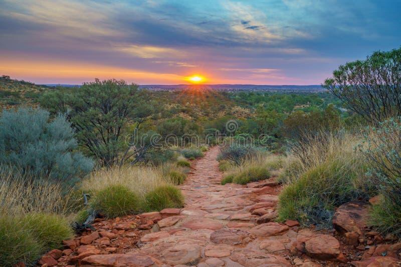 Hiking kings canyon at sunset, watarrka national park, northern territory, australia 34. Hiking kings canyon at romantic sunset, watarrka national park, northern royalty free stock photo