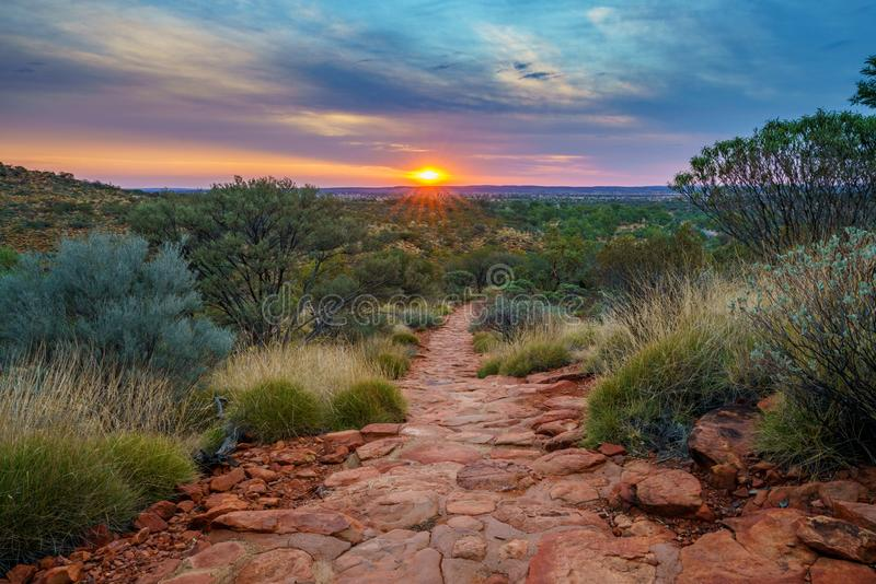 Hiking kings canyon at sunset, watarrka national park, northern territory, australia 35. Hiking kings canyon at romantic sunset, watarrka national park, northern stock photos
