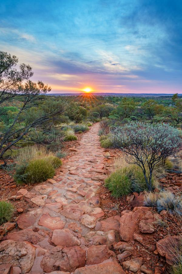 Hiking kings canyon at sunset, watarrka national park, northern territory, australia 38. Hiking kings canyon at romantic sunset, watarrka national park, northern stock images