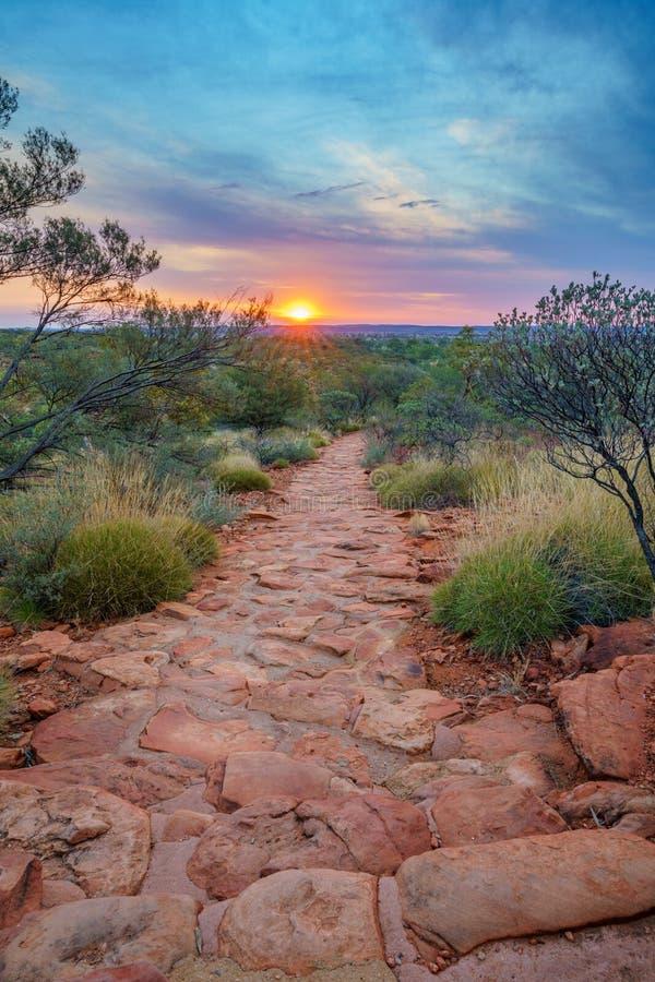 Hiking kings canyon at sunset, watarrka national park, northern territory, australia 42. Hiking kings canyon at romantic sunset, watarrka national park, northern royalty free stock photography