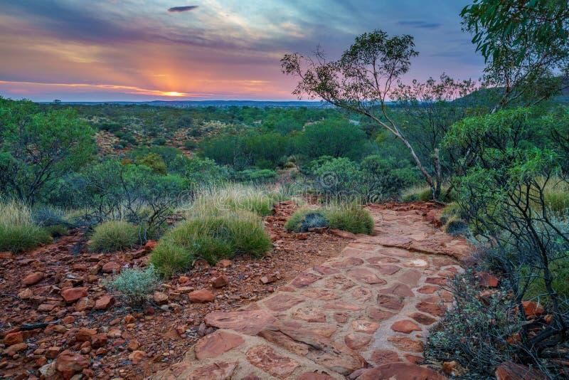 Hiking kings canyon at sunset, watarrka national park, northern territory, australia 49. Hiking kings canyon at romantic sunset, watarrka national park, northern stock photo