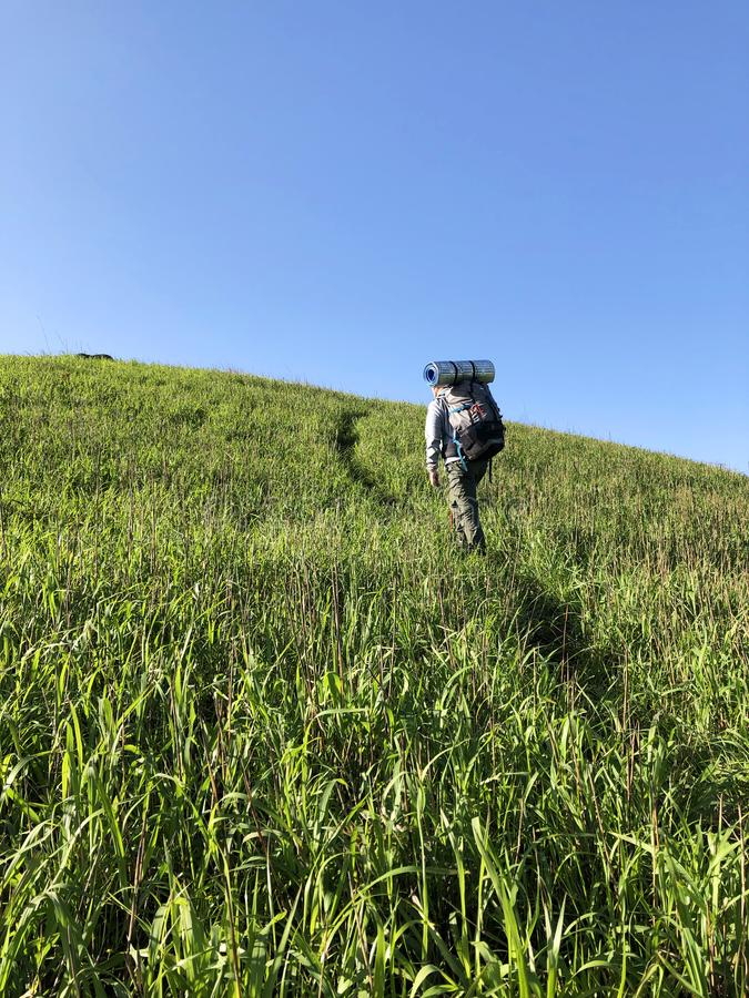 Hiking knapsack A trip to mount wugong in jiangxi province. Hiking knapsack  province camping overlooking confidence meadow adventure royalty free stock photo