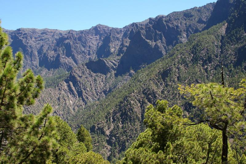 Hiking in La Caldera National Park at the island La Palma, Spain stock photo