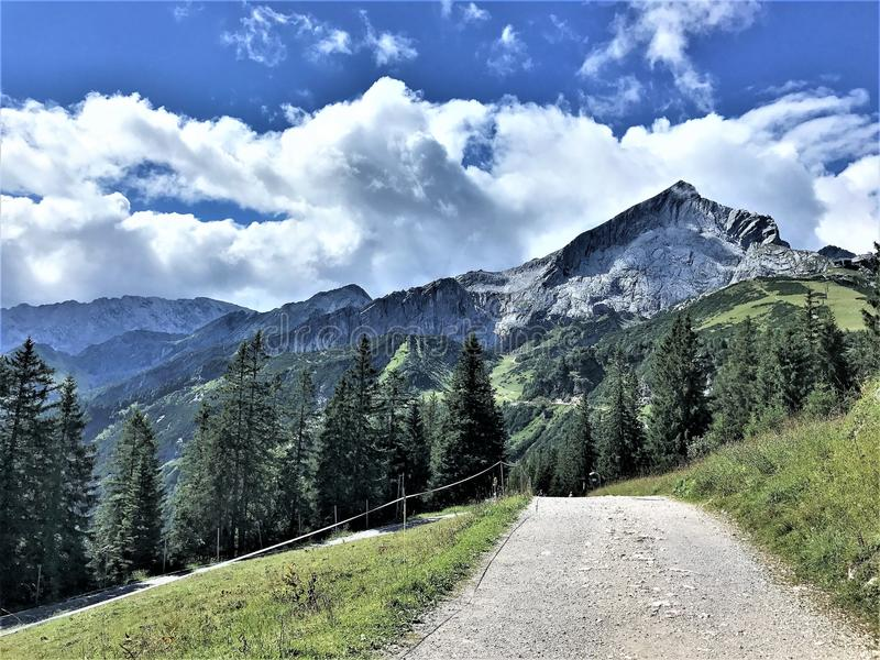Hiking in Bavaria Germany Mountain Views/ Wandern in Bayern Berge. Hiking and landscape in Bavaria Germany Mountain Views/ Wandern in Bayern Berge stock images