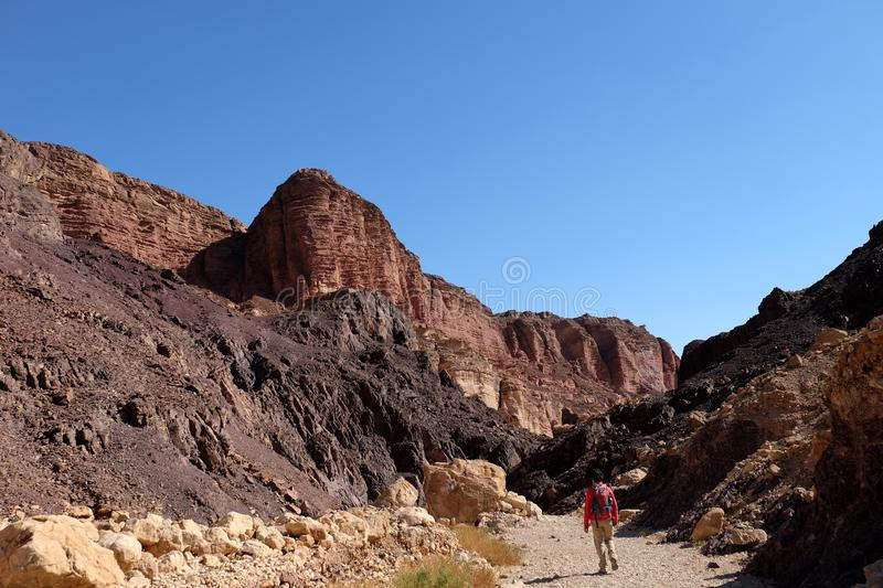 Hiking landscape in Eilat Mountains. stock photos