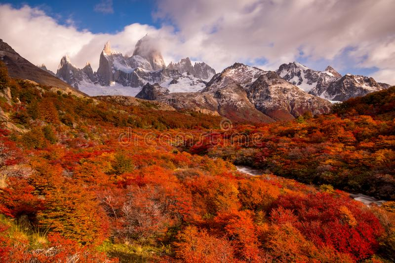 Snow-covered Mount Fitz Roy on beautiful fall day amongst forest of lenga trees. Hiking in Los Glaciares National Park on a beautiful fall day, taking in the royalty free stock image