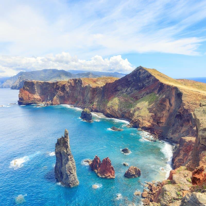 Hiking in Madeira. Trekking to Sao Lourenco. Amazing cliff beach panorama, Madeira island, Portugal royalty free stock photography
