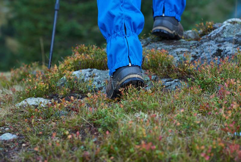 Hiking man with trekking boots. On the trail in height mountains stock image