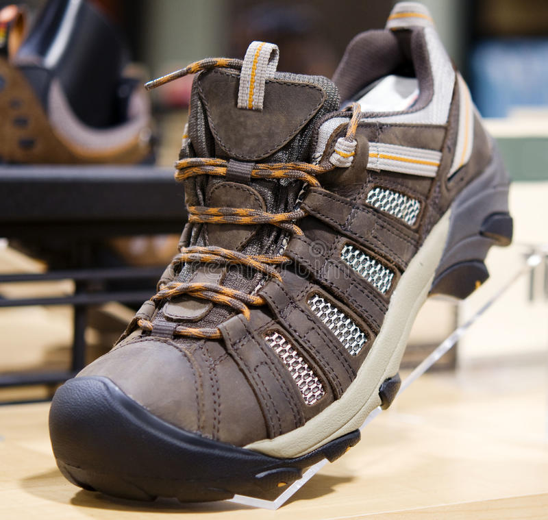Hiking and mountain boots. Close up of hiking and mountain boots royalty free stock photo