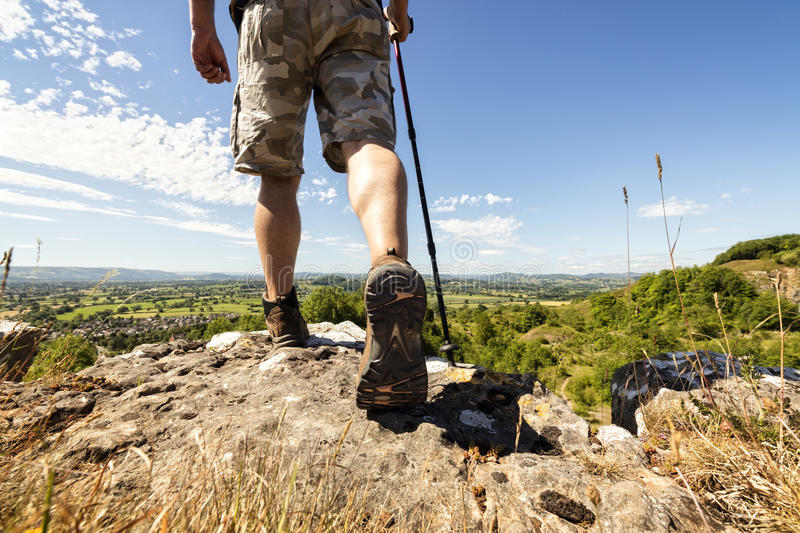 Hiking on a mountain trail royalty free stock images