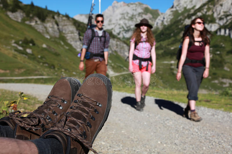 Hiking in the mountains stock image