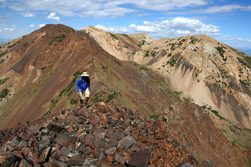 Hiking in mountains royalty free stock photo