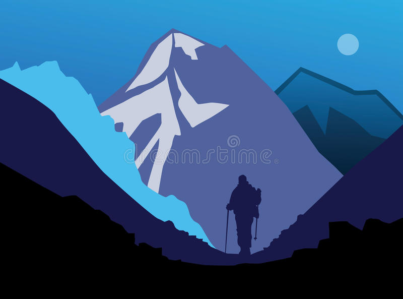 Download Hiking in mountains stock vector. Illustration of outside - 31480544