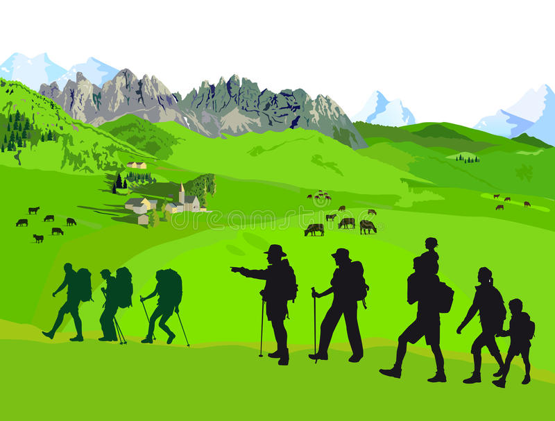 Hiking on mountains stock illustration
