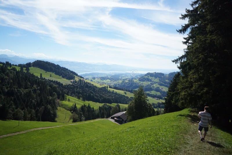 Hiking Mountains Summer Switzerland. Green Alps Tourism stock photos