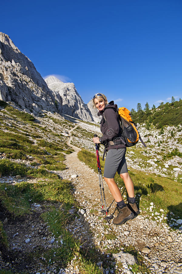 Hiking in mountains royalty free stock image
