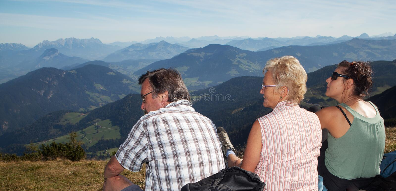 Hiking with my parents stock photo